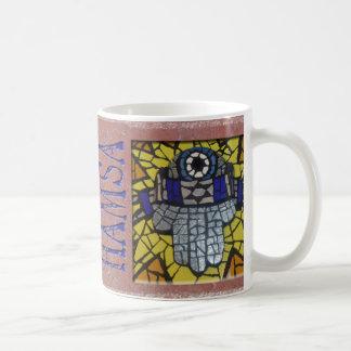 Yellow Glow Silver Hamsa with Talis and Evil Eye Coffee Mug