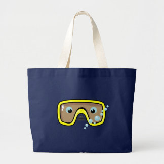 Yellow Goggles Large Tote Bag