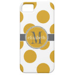 Yellow Gold and Grey Big Polka Dots Monogram iPhone 5 Cover