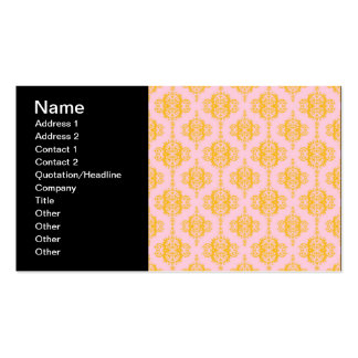 Yellow Gold and Pink Damask Pattern Business Card Template
