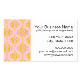Yellow Gold and Pink Damask Pattern Business Cards