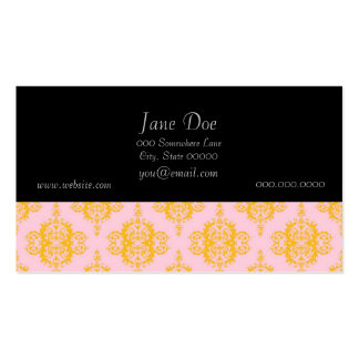 Yellow Gold and Pink Damask Pattern Pack Of Standard Business Cards