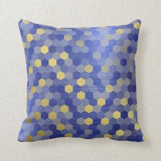 Yellow Gold Cobalt Sapphire Blue Hexagon VIP Throw Pillow