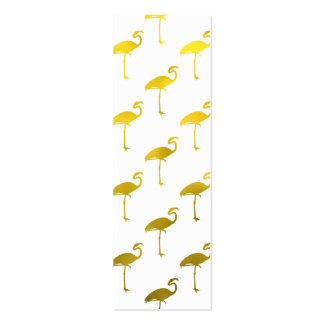 Yellow Gold Flamingo Faux Metallic Foil Tropical Pack Of Skinny Business Cards