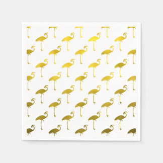 Yellow Gold Flamingo Faux Metallic Foil Tropical Disposable Napkins