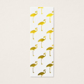 Yellow Gold Flamingo Faux Metallic Foil Tropical Mini Business Card