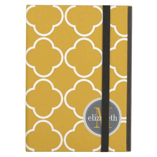 Yellow Gold | Gray Quatrefoil Clover Monogram iPad Folio Cases