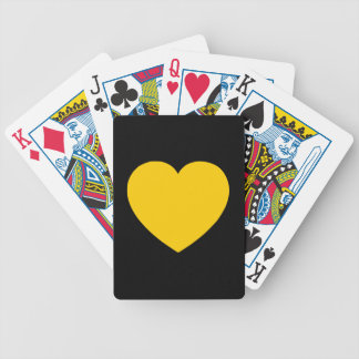 Yellow Gold Heart on Black Bicycle Playing Cards