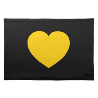 Yellow Gold Heart on Black Placemat
