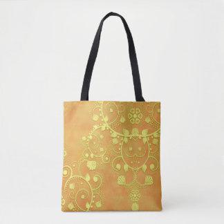 Yellow Gold Orange Fancy Floral Damask Tote Bag