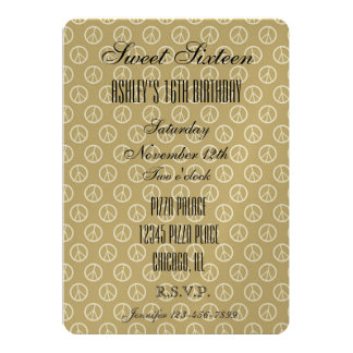 Yellow Gold Peace Signs 13 Cm X 18 Cm Invitation Card