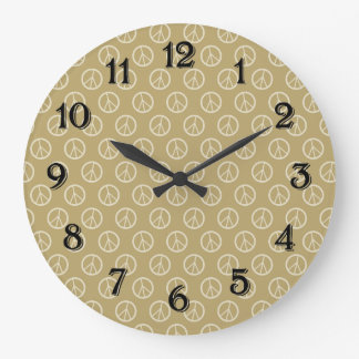 Yellow Gold Peace Signs Clocks