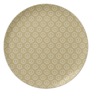 Yellow Gold Peace Signs Party Plate