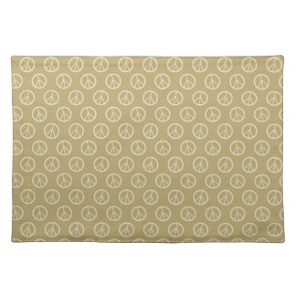 Yellow Gold Peace Signs Cloth Place Mat