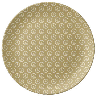 Yellow Gold Peace Signs Porcelain Plate
