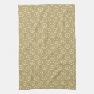 Yellow Gold Peace Signs Kitchen Towel