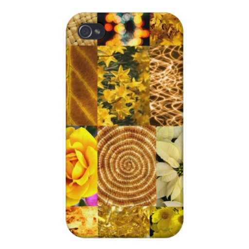 Yellow / Gold Photos Collage Case For iPhone 4