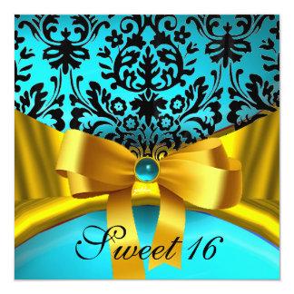 YELLOW GOLD RIBBON TEAL AQUA BLUE BLACK DAMASK CUSTOM INVITATIONS