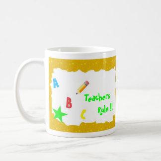 Yellow Gold School Chalkboard Teachers Rule Mug