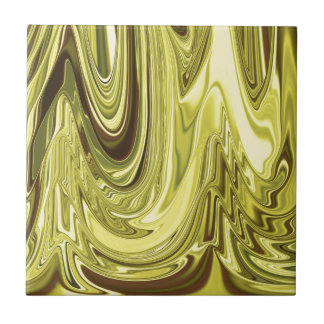 Yellow Gold Shiny Foil Flowing Wave Design Pattern Tiles