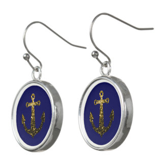 Yellow Gold sparkles Anchor Navy Blue Drop Earrings