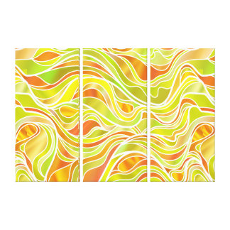 Yellow Gold Stained Glass Abstract Canvas Print
