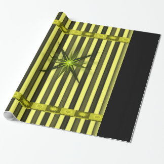 yellow gold star stipped wrapping paper