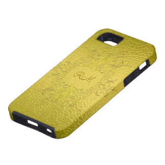 Yellow Gold Tones Stained Glass Pattern-Monogram iPhone 5 Case