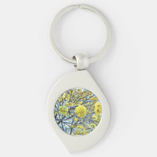 Yellow gold tree flowers Silver-Colored swirl key ring