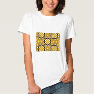 Yellow Gold Vase Flower Floral Etched Black White T Shirt