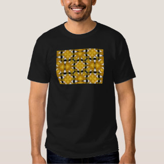 Yellow Gold Vase Flower Floral Etched Black White T Shirts