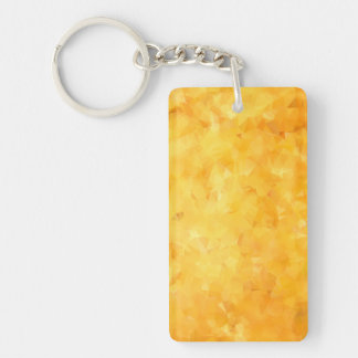 Yellow Golden Beryl Facet Double-Sided Rectangular Acrylic Key Ring