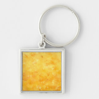 Yellow Golden Beryl Facet Silver-Colored Square Key Ring