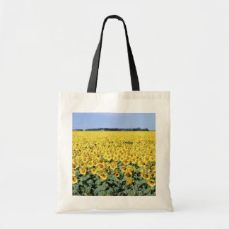 yellow Golden field of sunflowers, Manitoba flower Budget Tote Bag
