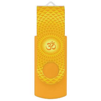 Yellow Golden Sun Lotus flower meditation wheel OM Swivel USB 2.0 Flash Drive