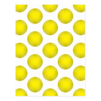 Yellow Golf Ball Pattern Post Card