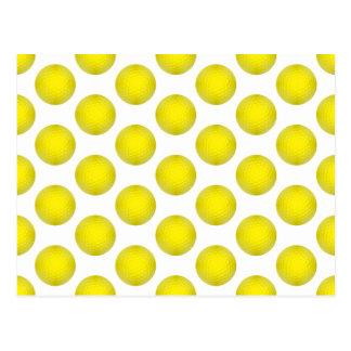 Yellow Golf Ball Pattern Post Cards