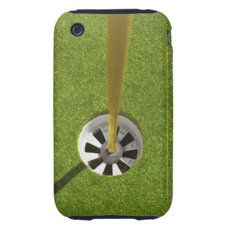 Yellow golf flag pole and hole iPhone 3 tough case