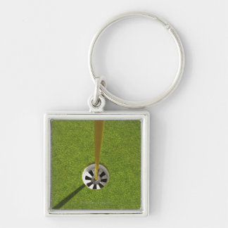 Yellow golf flag pole and hole key ring