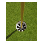 Yellow golf flag pole and hole poster