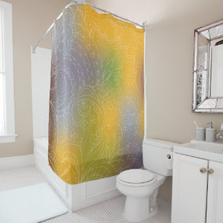 yellow gradient zen pattern shower curtain