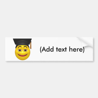 Yellow graduating smiley wearing cap car bumper sticker