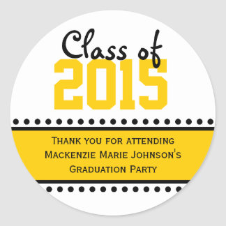 Yellow Graduation Year Favor Label Stickers