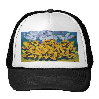 yellow graffiti cap