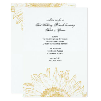 Yellow Graphic Sunflower Post Wedding Brunch Card
