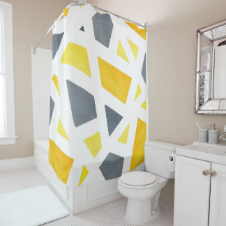 Yellow Gray Abstract Geometric Shower Curtain