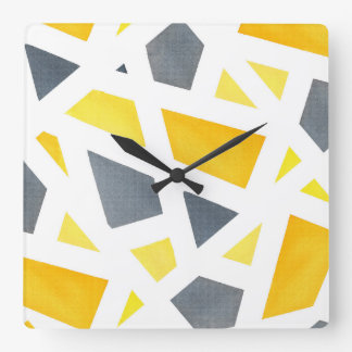 Yellow Gray Abstract Geometric Square Wall Clock