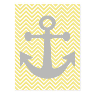 Yellow & Gray Anchor Nautical Pastel by Lara Kulpa Postcard