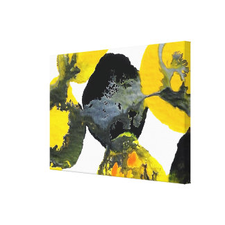 Yellow, Gray and Black Intertactions Canvas Print