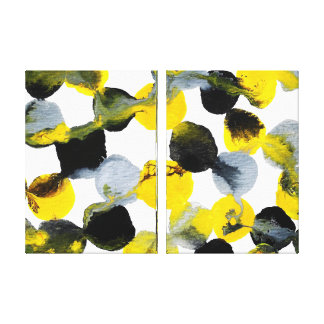 Yellow, Gray and Black Intertactions Stretched Canvas Print